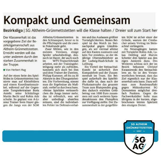 Kompakt und Gemeinsam 🔵⚪️  Ein schöner Artikel zum Pflichtspielauftakt in der heutigen Ausgabe des Schwarzwälder Boten.  Herzlichen Dank an alle Spender! #lebmalSGAG